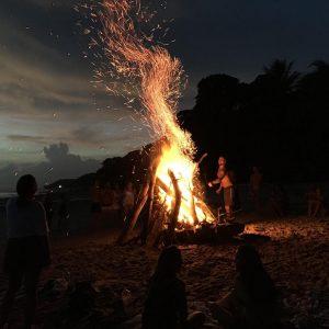 Sunset beach fire at Santa Teresa, Costa Rica 2019
